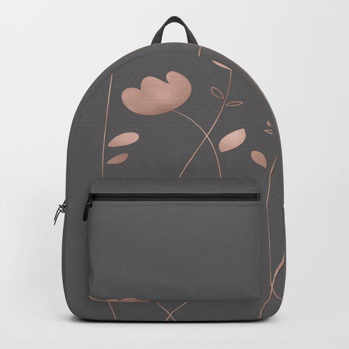 Rosegold pink flowers- floral design- Flower Backpack