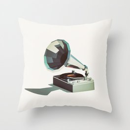 Lo-Fi goes 3D - Vinyl Record Player Throw Pillow