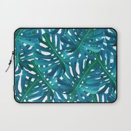 Monstera Swiss Cheese Plant Leaf Toss in Botanical Green Laptop Sleeve