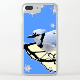 BLUE JAY DESIGN IN YELLOW-BLUE SNOWFLAKES ART Clear iPhone Case