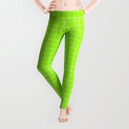 Green Grid White Line Leggings