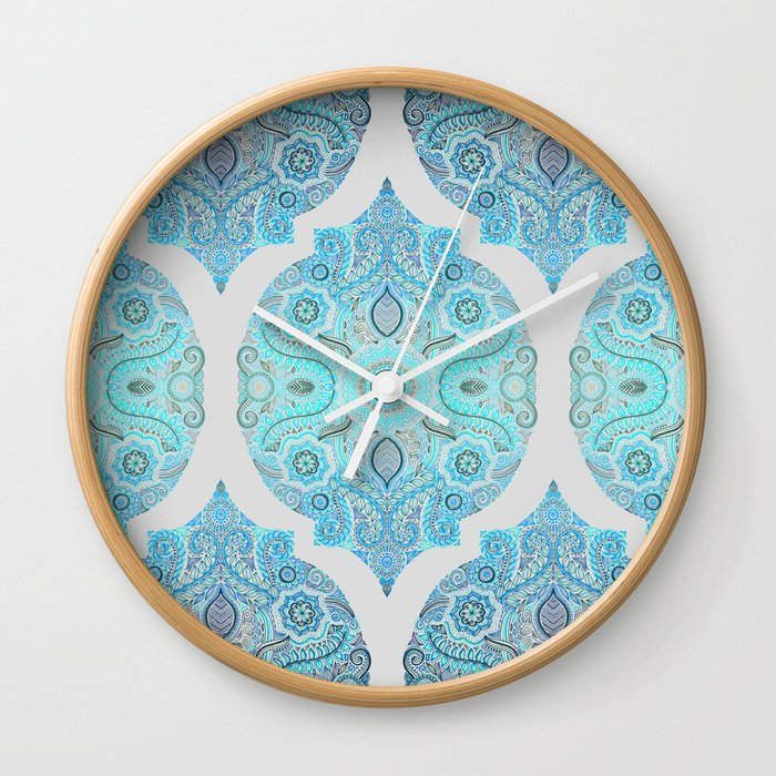 Through Ocean & Sky - turquoise & blue Moroccan pattern Wall Clock