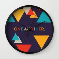 scripture Wall Clocks featuring One Another Scripture Poster (Romans 15) by Jess Creatives