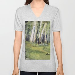 Woodland Landscape Watercolor Vermont Painting Birch Trees Spring Fields Unisex V-Neck
