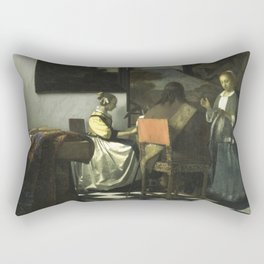 Stolen Art - The Concert by Johannes Vermeer Rectangular Pillow