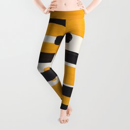Mid Century Modern Abstract Painting Antique Yellow Black Bumble Bee Stripes Leggings