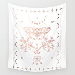 Magical Moth In Rose Gold Wall Tapestry