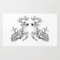 clockwork Area & Throw Rugs featuring clockwork deer by vasodelirium