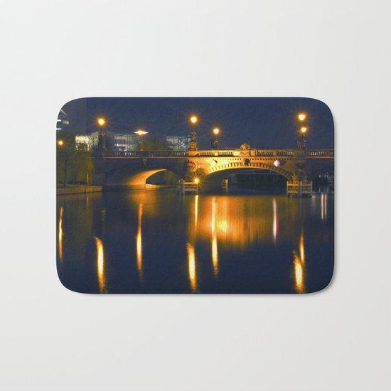 BERLIN NIGHT on the RIVER SPREE Bath Mat