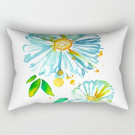 Lakeside Watercolour Blue Daisies Rectangular Pillow