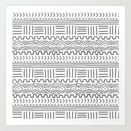 Mud Cloth on White Art Print