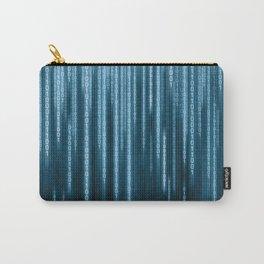 Blue Binary Rain Carry-All Pouch