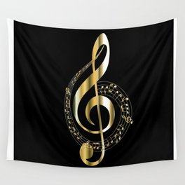 Golden G Cleff Wall Tapestry