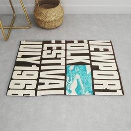 Vintage 1966 Newport Folk Festival Advertisement Poster Rug