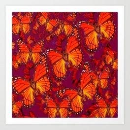 Decorative Orange Monarch Butterflies Patterns Art Print