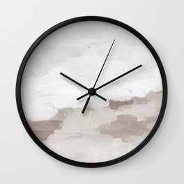 Desert Storm Gray Clouds Beige Sandy Dunes Desolate Abstract Nature Painting Art Print Wall Decor  Wall Clock