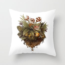 Garden full of piranha plants sepia Throw Pillow