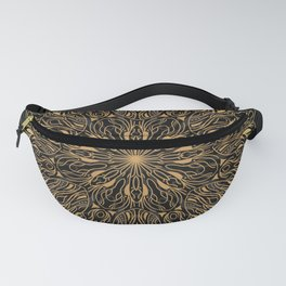 MANDALA IN BLACK AND GOLD Fanny Pack