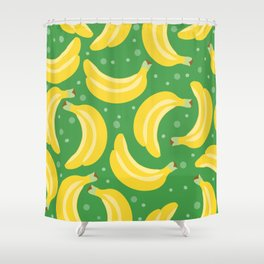 Vector bananas in a green background Shower Curtain