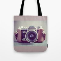 vintage camera Tote Bags featuring Vintage Camera by Juste Pixx Photography