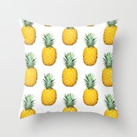 pinapple Throw Pillows featuring Big Pineapples by CumulusFactory
