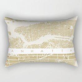 Manhattan NYC map gold Rectangular Pillow