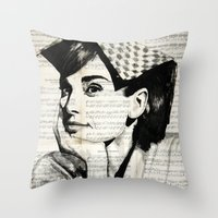 audrey Throw Pillows featuring Audrey by Krzyzanowski Art