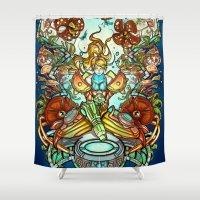 spawn Shower Curtains featuring Maternal Instinct by Emilie Boisvert
