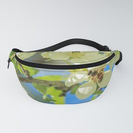 A bee and apple blossoms Fanny Pack