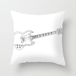Solid Guitar Line Drawing Throw Pillow