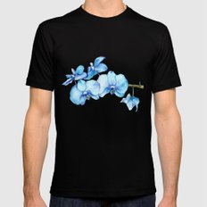 Blue Orchids Two - Watercolor Mens Fitted Tee Black MEDIUM