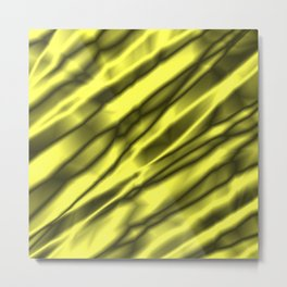 A chaotic cluster of yellow bodies on a light background. Metal Print