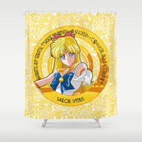 sailor venus Shower Curtains featuring Sailor Venus - Crystal Intro by Yue Graphic Design