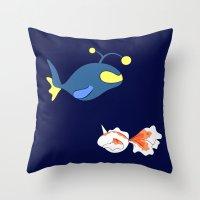 finding nemo Throw Pillows featuring Nemo, I choose you! by Mariotaro