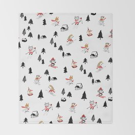 Mountain skiing in alpine chalet snow forest Throw Blanket