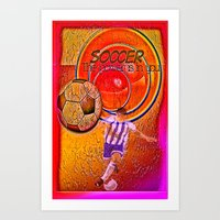 soccer Art Prints featuring Soccer by Ticopage designs