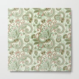 Oriental Persian Paisley, Swirls - Green Pink Metal Print