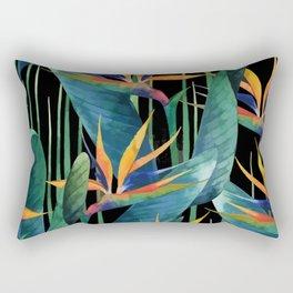 Watercolor Painting Tropical Bird of Paradise Plants large Rectangular Pillow