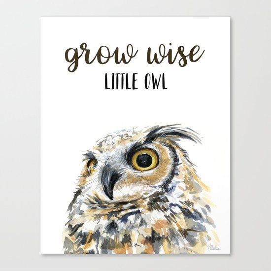 Grow Wise Little Owl Nursery Animals Art Great Horned Owl Canvas Print