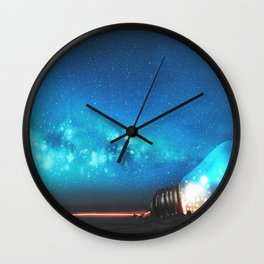 Fantasy Illustration Graphic Design Anime Japanese Inspired World Landscape 'Carrying My Thoughts' Wall Clock