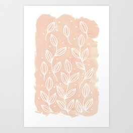 Watercolor Blush Leaves Art Print