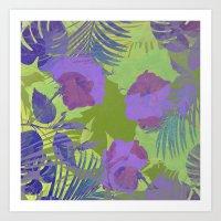 hawaiian Art Prints featuring Hawaiian Purple by ALLY COXON
