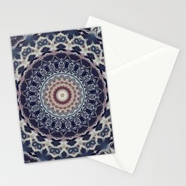Grey blue ornament, mandala Stationery Cards