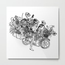Floral Motorcycle Vendor Metal Print