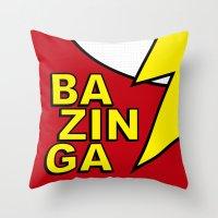 bazinga Throw Pillows featuring Bazinga by Bazingfy