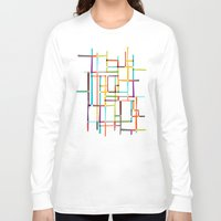 mondrian Long Sleeve T-shirts featuring The map (after Mondrian) by Picomodi