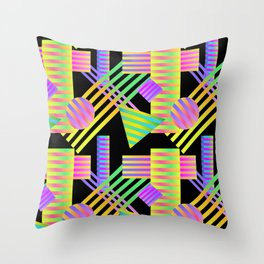 Neon Ombre 90's Striped Shapes Throw Pillow