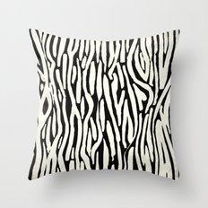 Zebra Stripes Tribal Black and Cream Throw Pillow