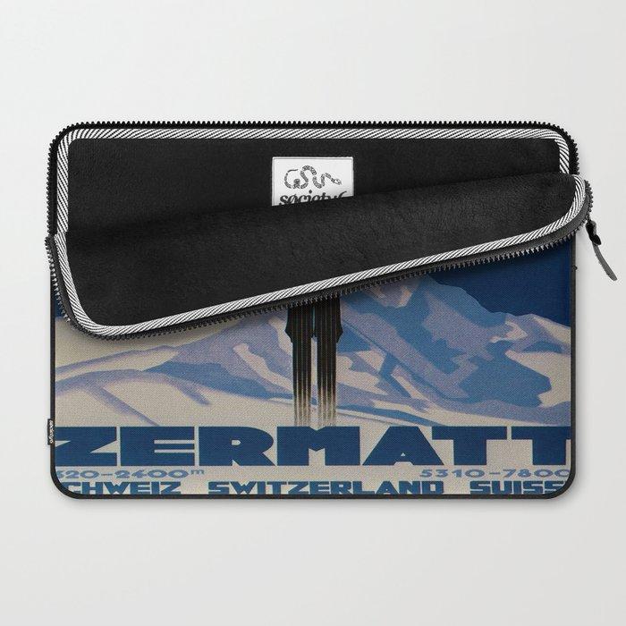 Vintage Zermatt Switzerland Travel Laptop Sleeve