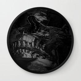3D Data Mosh Skull - Black Cropped Wall Clock